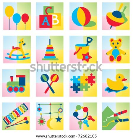 Set of sixteen children toy icons - stock vector