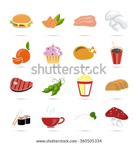 Set of sixteen color food icons - stock vector