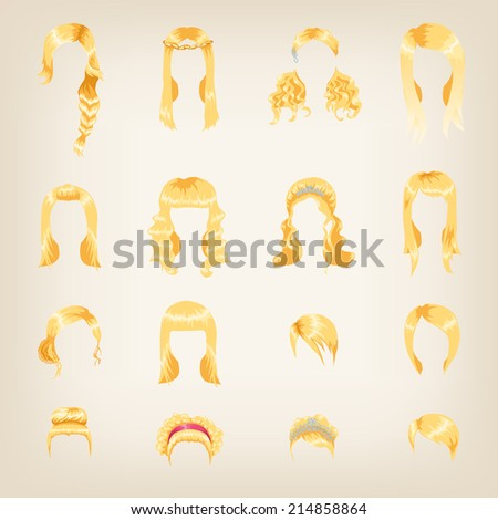 Set of sixteen different blond hairstyles for women