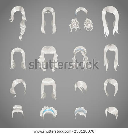 Set of sixteen different gray hairstyles for women - stock vector