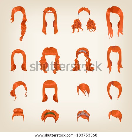 Set of sixteen different red hairstyles for women - stock vector