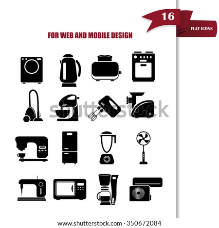 Set of sixteen  household appliances icons