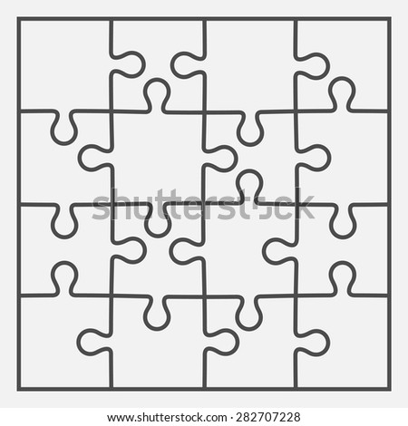 Set of sixteen puzzle pieces. Vector illustration, eps 8. - stock vector