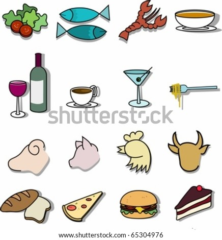 Set of  sixteen restaurant menu icons, courses.
