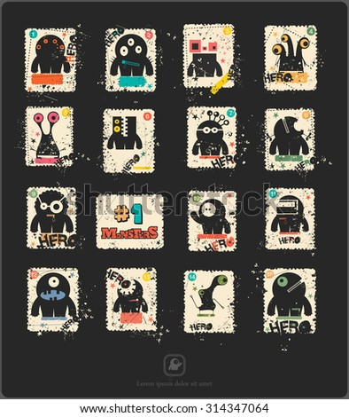 Set of sixteen retro postage`s stamp with funny monsters. Cartoon illustration. Vector set. - stock vector