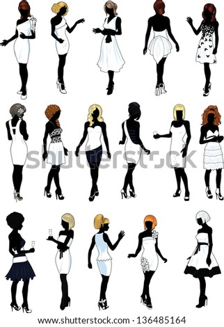 set of sixteen silhouettes of beautiful girls in detailed  hairdo and white cocktail dresses - stock vector