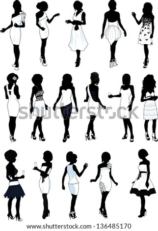 set of sixteen silhouettes of beautiful girls in detailed white cocktail dresses - stock vector