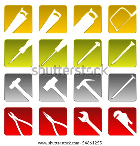 Set of sixteen simple beveled tool icons - stock vector