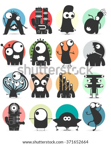 Set of sixteen stickers with cute monsters. Cartoon illustration. Vector set