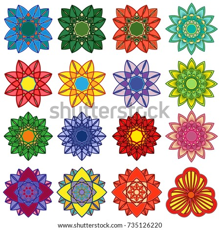 Set of sixteen stylized color flowers, vector illustrations isolated on the white background