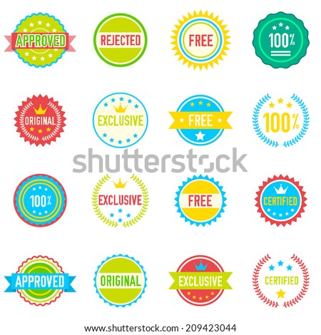 Set of sixteen vector colored emblems and stamps in flat style depicting approved exclusive original certified free and 100 percent guarantee in round banner form  - stock vector
