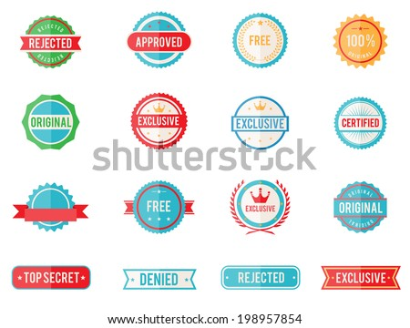 Set of sixteen vector colored emblems and stamps in flat style depicting denied  approved  exclusive  original  certified  free and 100 percent guarantee in round and rectangular banner form - stock vector