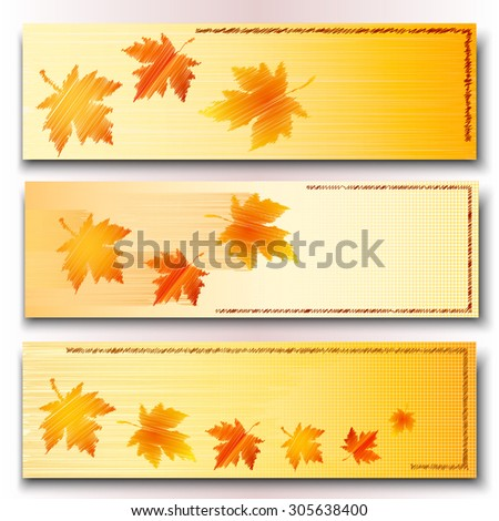 Set of sketch autumn banners with leaves.. Vector illustration.