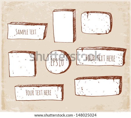 Set of sketch banners in vintage style. Vector illustration.  - stock vector