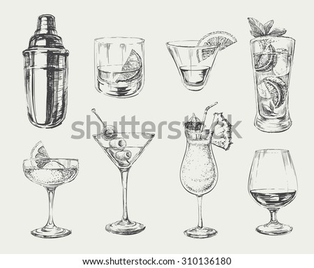 Set of sketch cocktails and alcohol drinks - stock vector