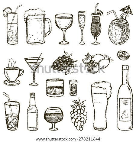 Set of Sketch Cocktails and Alcohol Drinks vector illustration - stock vector