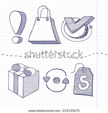 Set of sketch doodle business shopping infographics elements icons background in the box. Exclamation mark bag gift tag - stock vector