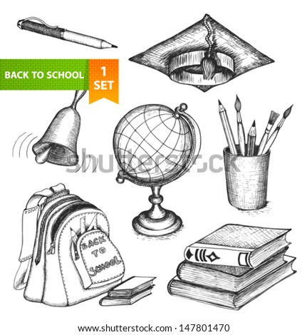 Set of sketch elements. Back to school. Hand-drawn vector illustration. - stock vector