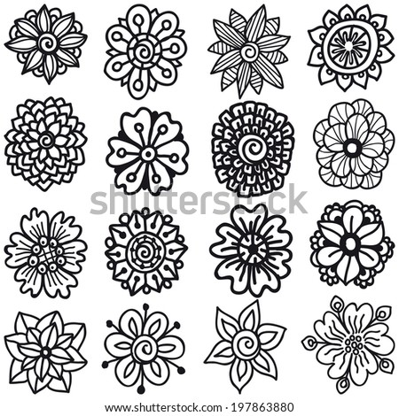 Set Of Sketch Flowers For Your Design. Vector Collection of Hand Drawn Flowers - stock vector