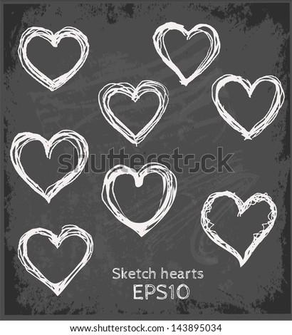 Set of sketch hearts on blackboard. Vector illustration. - stock vector