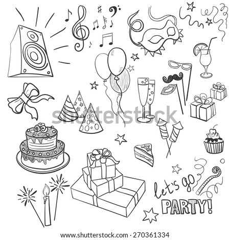 set of sketch party objects hand-drawn, excellent vector illustration, EPS 10 - stock vector