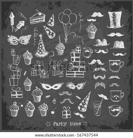 Set of sketch party objects hand-drawn on blackboard background. Vector illustration.  - stock vector