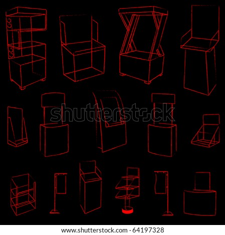 set of 15 sketch red display. vector illustration - stock vector