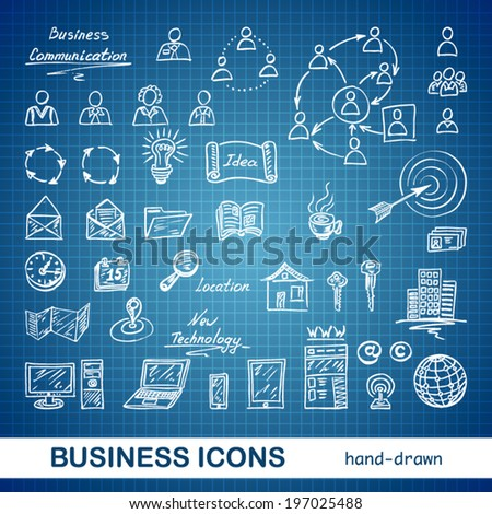 Set of sketched business icons on a blue print background - vector illustration - stock vector