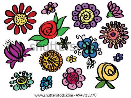 Set of sketched colour flowers