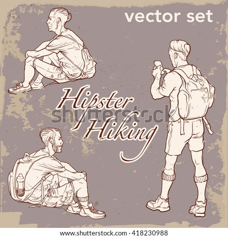 Set of 3 sketched man figures. Hipster style looking young backpackers sitting and standing. Sketch and silhouette. Vintage background. EPS10 vector illustration. - stock vector