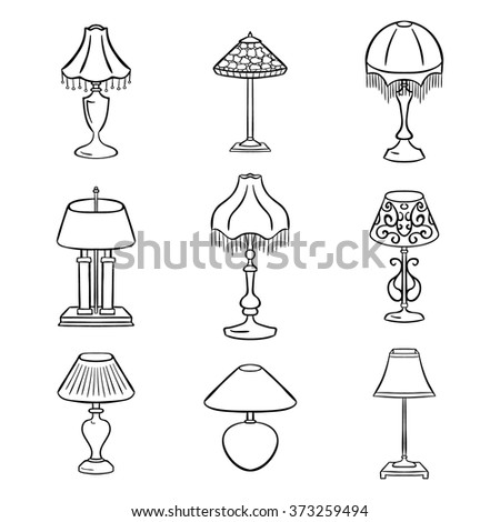 Set Of Sketched Table Lamps With Lampshades Vector Illustration Isolated Black Contoured