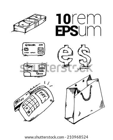 Set of sketches internet shopping. Vector illustration. - stock vector