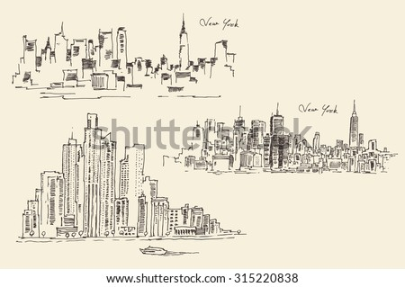 Set of sketches of New York, vintage engraved illustration, hand drawn - stock vector