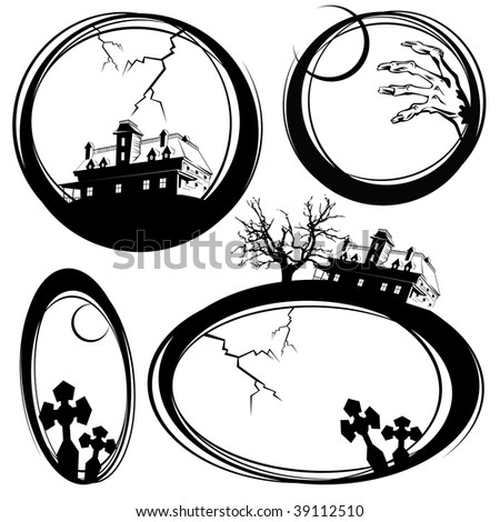 Set of sketches on a holiday theme halloween for registration and design - stock vector