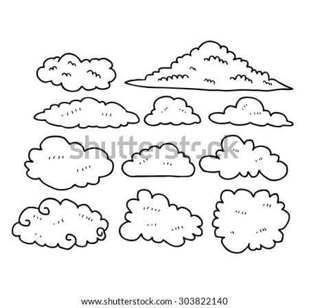 set of sketchy clouds - stock vector