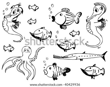 set of sketchy doodle sea animals - stock vector