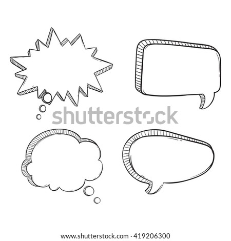 Set of Sketchy or Doodle Bubble Speech on White Background