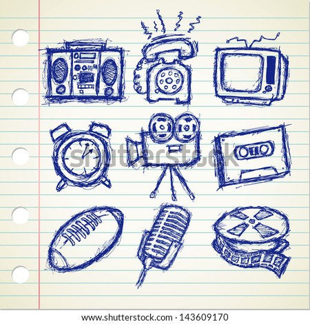 set of sketchy vintage stuff icon - stock vector