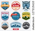Set of ski patrol mountain badges and logo patches - stock vector