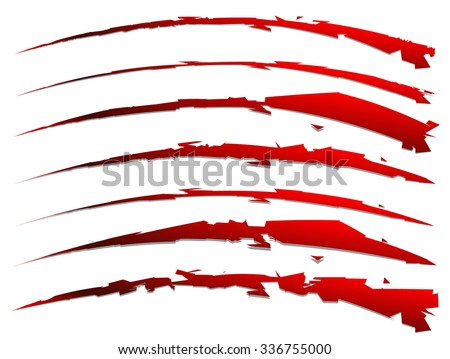 set of slash shapes isolated on white. claw mark, wound, rip vector - stock vector