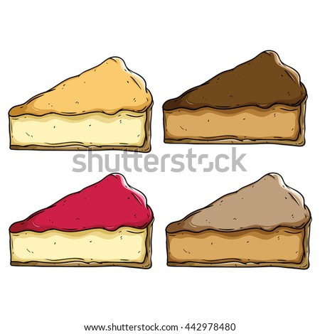 Set of slice cake with delicious topping