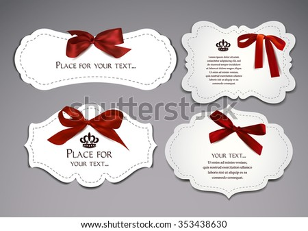 Set of small elegant cards with red silk bows - stock vector