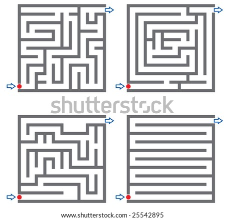Set of small labyrinth - stock vector