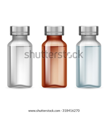 Set of small medical bottle dark and light - stock vector