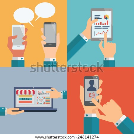 Set of smartphone, pc tablet, technology computer and internet with hands, communication concept. Flat design.  - stock vector