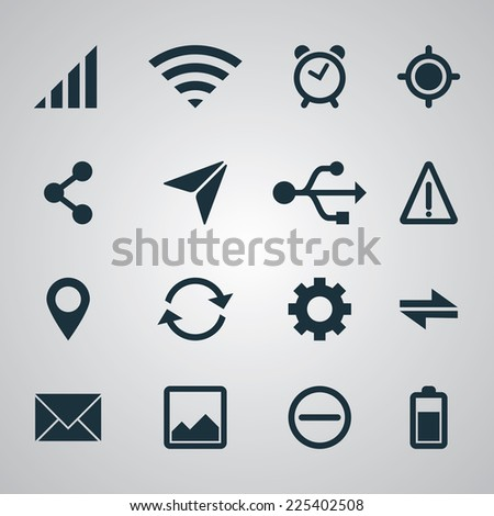Set of smartphone UI icons. EPS10 vector - stock vector
