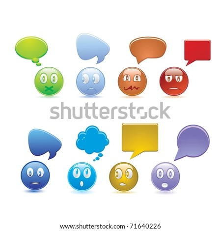 set of smiles - stock vector