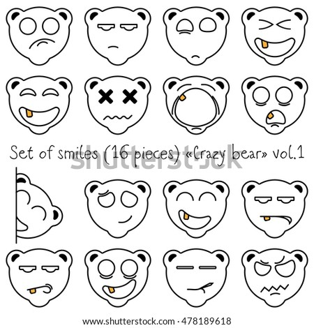 Set of smiles crazy bear
