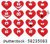 set of smiles of heart shape with many emotions - stock vector