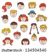 Set of smiley children faces. Doodle style illustration. Vector. - stock photo